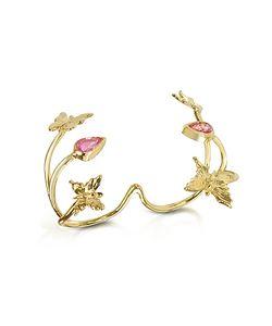 Bernard Delettrez | Золотое Кольцо На 2 Пальца С Бабочкой И Розовыми Сапфирами