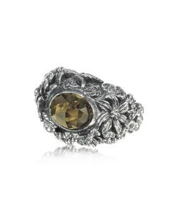 UGO CACCIATORI | Smoky Quartz And Sterling Foliage Solitaire Ring