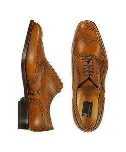 Moreschi | Oxford Декорированные Туфли Из Кожи Теленка Цвета Загара