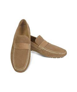Moreschi | Portofino Перфорированные Замшевые Туфли Для Вождения Цвета Загара