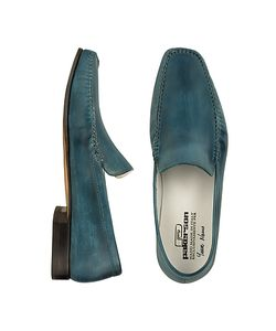 Pakerson | Petrol Blue Italian Handmade Leather Loafer Shoes