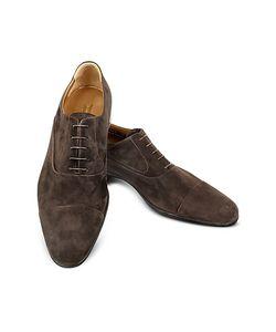 Moreschi | Dublin Dark Suede Cap-Toe Oxford Shoes