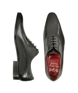 Fratelli Borgioli | Итальянские Черные Кожаные Костюмные Туфли Ручной Работы С Декорированным Мысом