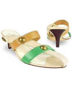 Amaltea   Front Straps Leather Slide Shoes