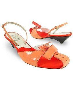 Amaltea   Front Tie Patent Leather Slingback Shoes