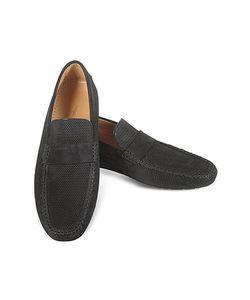 Moreschi | Portofino Черные Перфорированные Замшевые Туфли Для Вождения