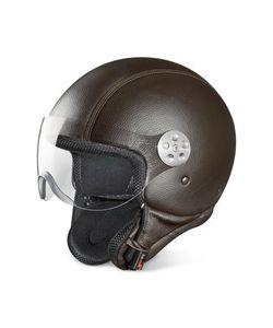 Piquadro | Темно-Коричневый Кожаный Шлем С Открытым Лицом И Защитным Козырьком