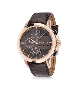 Maserati | Ingegno Мужские Часы Хронограф Из Нержавеющей Стали Цвета Розового Золота С Коричневым Кожаным Ремешком