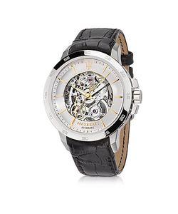 Maserati | Ingegno Серебристые Мужские Часы Из Нержавеющей Стали С Черным Кожаным Ремешком