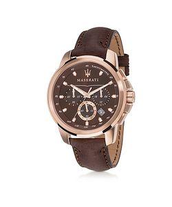 Maserati | Successo Мужские Часы Хронограф Из Нержавеющей Стали Цвета Розового Золота С Коричневым Кожаным Ремешком