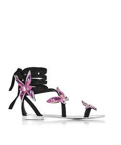 Giuseppe Zanotti Design   Suede Flat Sandals W Butterflies