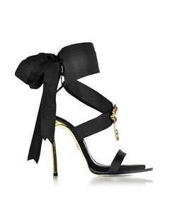 Dsquared2 | Treasures Satin Ankle Wrap High Heel Sandals W/Metal Logo