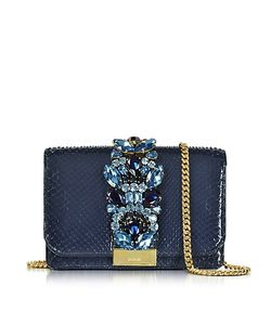 Gedebe | Clicky Midnight Python Clutch W/Crystals