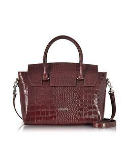 LANCASTER PARIS | Croco Embossed Leather Satchel Bag