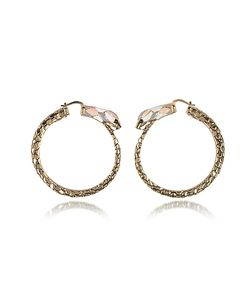 Roberto Cavalli | Tone Metal And Enamel Snake Hoop Earrings