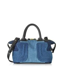 See by Chlo | Kay Color Block Denim And Black Leather Satchel Bag