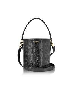 meli melo | Woven Leather Santina Mini Bucket Bag