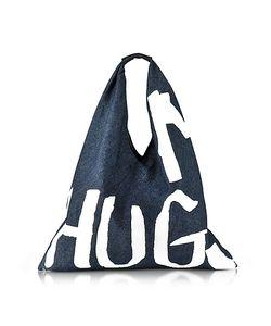 MM6 Maison Martin Margiela   Hugs Painted Washed Denim Tote