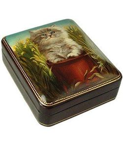 Bianchi Arte | Persian Kitty Oil On Leather Jewelry Box