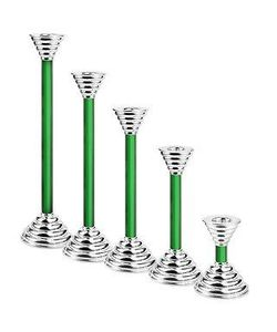 Masini | Luce Green Murano Glass And Sterling Silver Candleholder