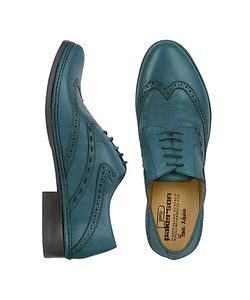 Pakerson | Petrol Blue Handmade Italian Leather Wingtip Oxford Shoes