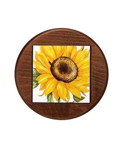 Spigarelli | Тарелка Из Керамики И Дерева Украшенная Рисунком Подсолнухов