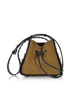 3.1 Phillip Lim | Soleil Dark Mustard Suede And Leather Mini Bucket Bag W/Studs