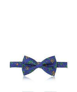 Moschino | Palms And Teddy Bears Printed Twill Silk Pre Tied Bow