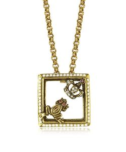 Alcozer & J | Gemstone Plated Brass Little Frog And Crown Necklace