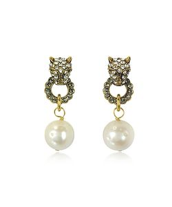 Alcozer & J | Small Panthers Tone Brass W/Glass Pearls Drop Earrings