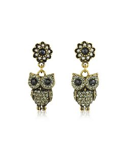 Alcozer & J | Hanging Tone Brass W/Crystals Drop Earrings