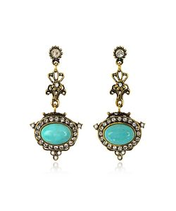 Alcozer & J | Magnesite Tone Brass Earrings W/Crystals