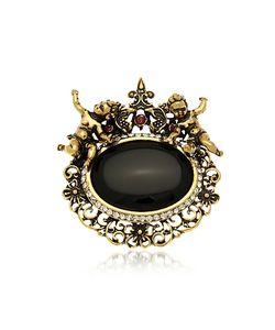 Alcozer & J | En Brass Gemstones With Little Angels Brooch