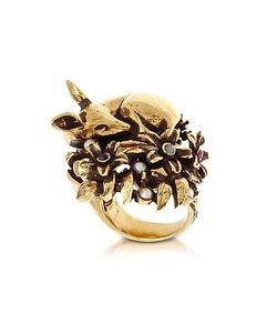 Alcozer & J   Fawn Tone Brass Ring W/Glass Pearl