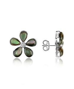 Del Gatto | Diamond Gemstone Flower 18k Gold Earrings