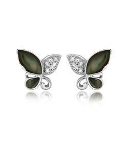 Del Gatto | Diamond Gemstone Butterfly 18k Gold Earrings