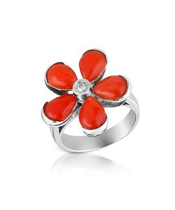 Del Gatto | Diamond And Coral Flower 18k Gold Ring