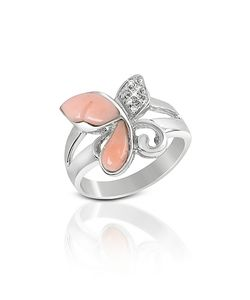 Del Gatto | Diamond And Coral Butterfly 18k Gold Ring
