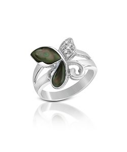 Del Gatto | Diamond And Black Mother-Of-Pearl Butterfly 18k Gold Ring
