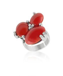 Del Gatto | Diamond And Coral Three-Stone 18k Gold Ring