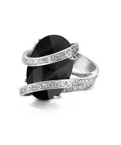 Del Gatto | Onyx Diamond Channel 18k Gold Ring