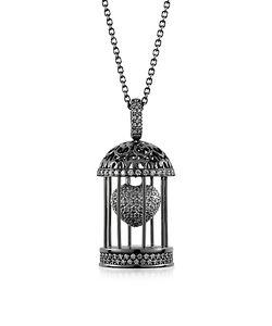Azhar | Gabbietta Silver And Zircon Cage Pendant Necklace