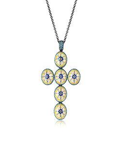 Azhar | Capri Silver Zircon And Enamel Cross Necklace