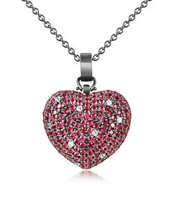 Azhar | Sterling Silver And Cubic Zirconia Heart Pendant Necklace