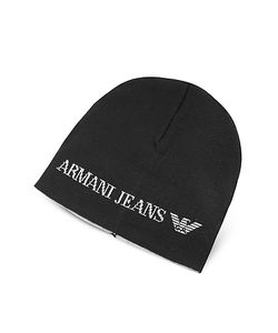 ARMANI JEANS | Solid Wool Blend Mens Beanie Hat