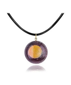 Akuamarina | Silver Leaf And Murano Glass Round Pendant Necklace