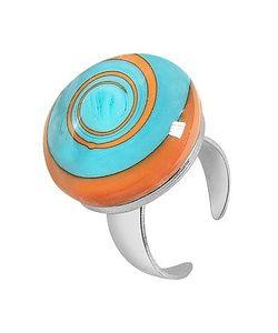 Akuamarina | Swirling Murano Glass Sterling Silver Open Ring