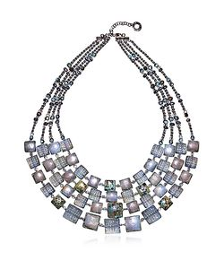 Antica Murrina | Atelier Byzantium Grey Murano Glass Silver Leaf Choker