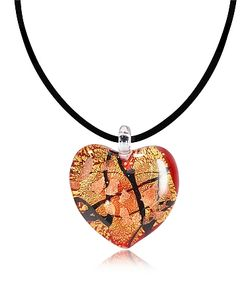 Antica Murrina | Passione Gold And Black Murano Glass Heart Pendant