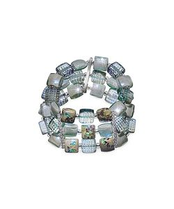 Antica Murrina | Atelier Byzantium Grey Murano Glass Silver Leaf Stretch Bracelet